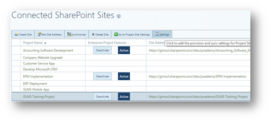project online how to display project timeline view in project site